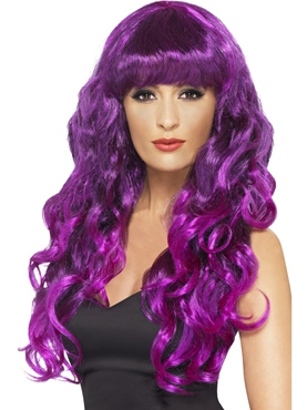 Adult Purple & Black Siren Wig