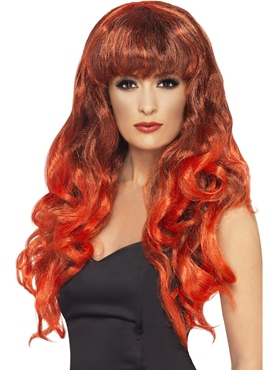 Adult Black & Red Siren Wig