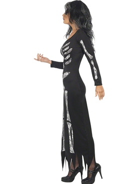 Adult Skeleton Tube Dress Costume - Back View