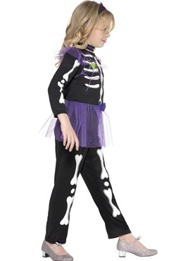 Child Skellie Punk Girl Costume - Side View
