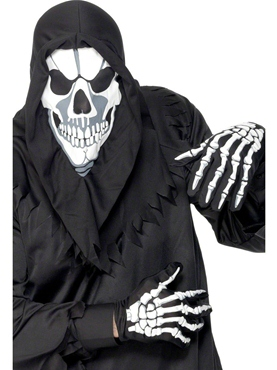 Skull Hood And Gloves Black Fabric