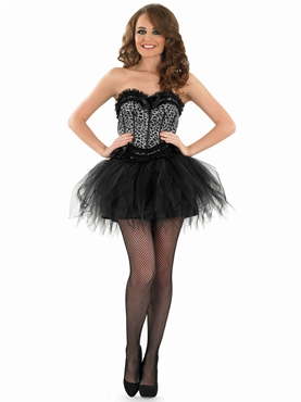 Adult Burlesque Snow Leopard Tutu Costume - Back View