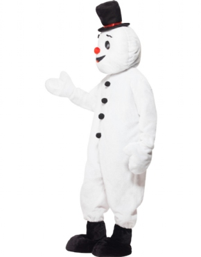Adult Snowman Mascot Costume - Back View