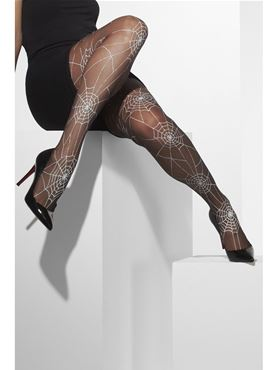 Spiderweb Tights Black With White - Side View