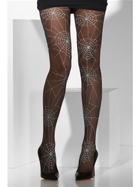 Spiderweb Tights Black With White - Back View