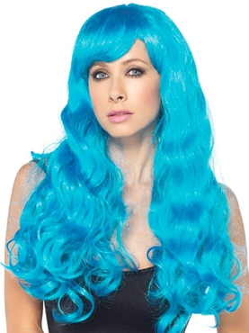 Adult Neon Star Blue Wig