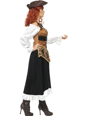 Adult Steam Punk Pirate Wench Costume - Back View