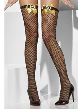 Steampunk Lattice Net Stockings - Back View