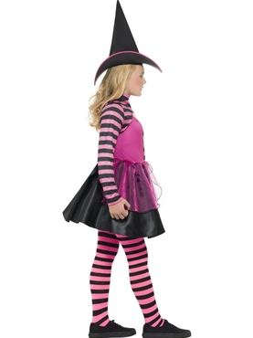 Child Stripe Dark Witch Costume - Back View