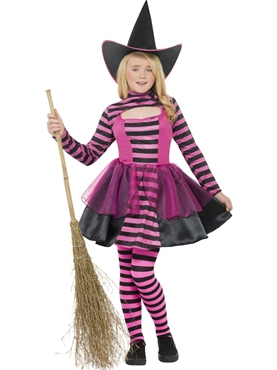 Child Stripe Dark Witch Costume
