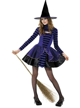 Teen Stripe Dark Fairy Witch Costume