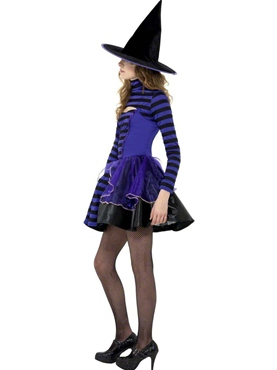 Teen Stripe Dark Fairy Witch Costume - Side View