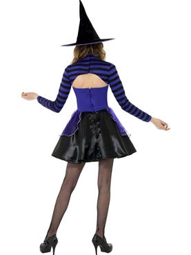 Teen Stripe Dark Fairy Witch Costume - Back View