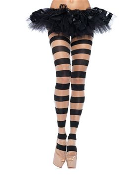 Adult Black Striped Pantyhose