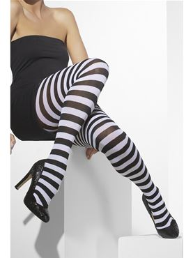 Striped Tights Black White - Back View