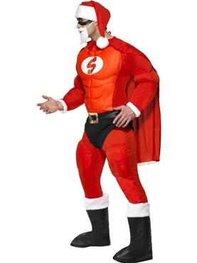 Adult Super Fit Santa Costume - Back View