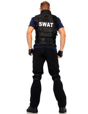 Adult Deluxe SWAT Commander Costume - Back View