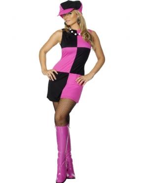 Adult Swinging 60's Costume Pink Black