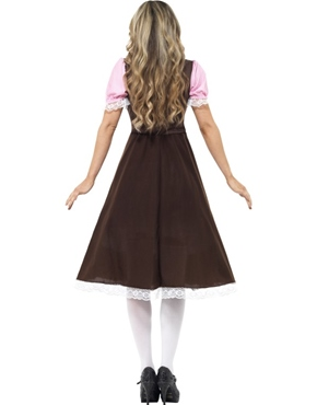 Adult Tavern Girl Long Dress Oktoberfest Costume - Back View