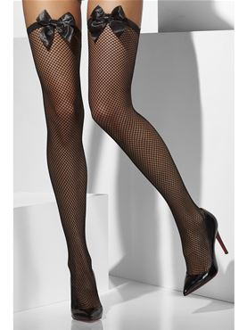 Thigh High Fishnet Stockings Black with Bow - Back View