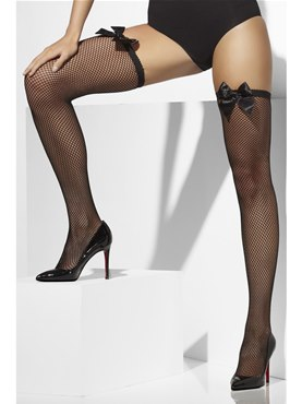 Thigh High Fishnet Stockings Black with Bow