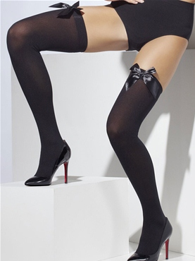 Thigh High Stockings Black with Bow