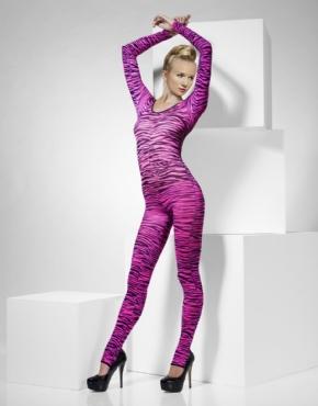 Adult Pink Zebra Print Body Suit