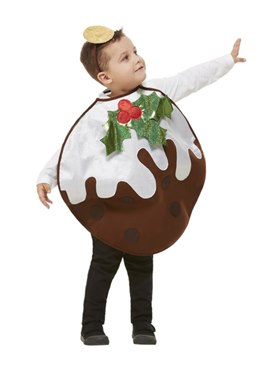 Toddler Glitter Christmas Pudding Costume - Back View