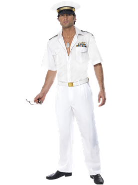 Adult Top Gun Captain Costume Couples Costume