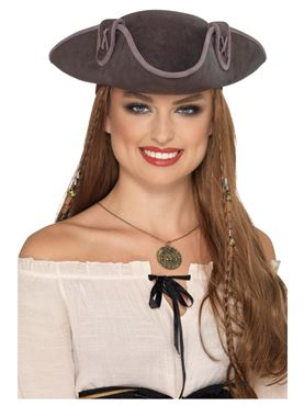 Tricorn Pirate Captain Hat - Back View