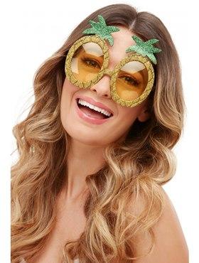 Tropical Pineapple Glitter Glasses