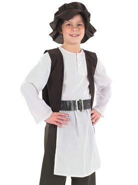Child Tudor Poor Boy Costume - Back View