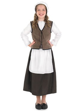 Child Tudor Kitchen Girl Costume - Back View