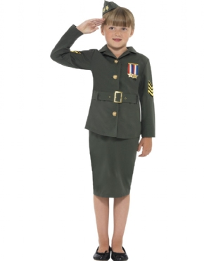 WW2 Army Girl Childrens Costume - Back View