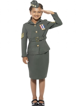 WW2 Army Girl Childrens Costume Couples Costume