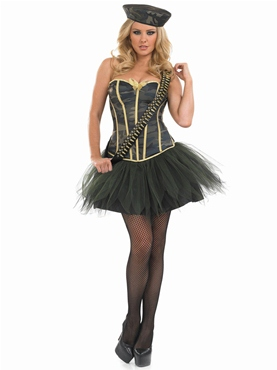 Adult Tutu Army Girl Costume - Back View