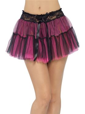Tutu Black And Pink Net Underskirt - Back View