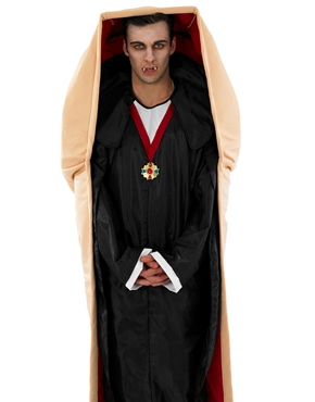 Adult Vampire in a Coffin Costume - Back View