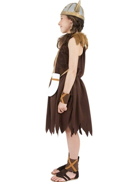Child Viking Girls Childrens Costume - Back View