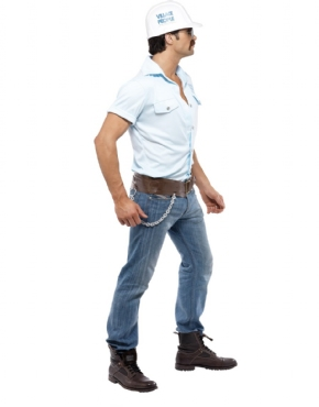 Adult Village People Construction Worker Costume - Back View