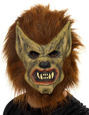 Werewolf Mask Brown Rubber