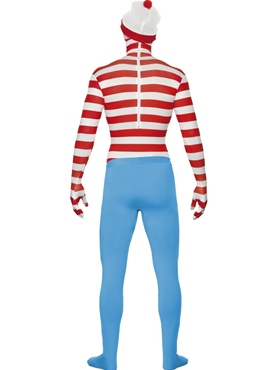 Adult Where's Wally Second Skin Costume - Back View