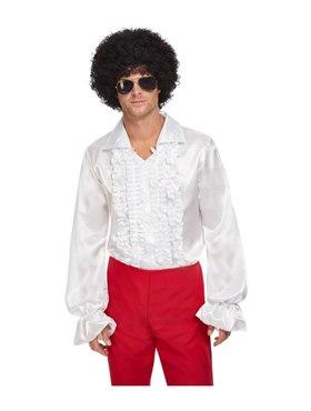 White 60s Ruffled Shirt - Back View