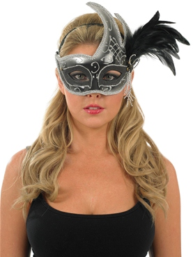 White and Black Feather Eye Mask