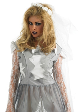 Adult White Corpse Bride Costume - Back View