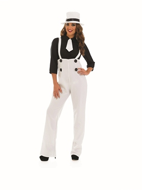 Adult White Gangster Lady Costume - Back View