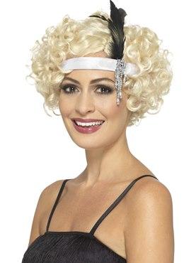 White Satin Charleston Headband