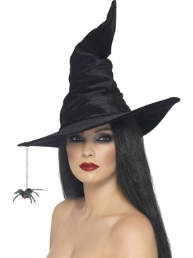 Adult Black Velour Witch Hat