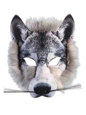 Wolf Face Mask with Fur