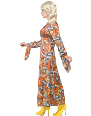 Adult Woodstock Maxi Dress Costume - Back View